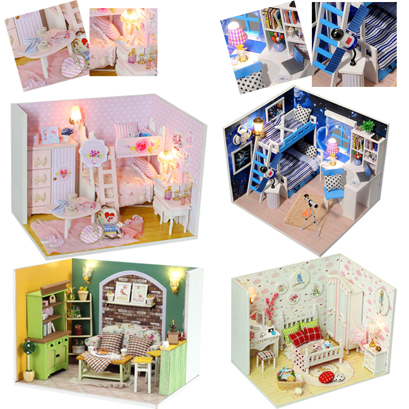DIY Doll House Casa Model Miniature Dollhouse With Furniture Cover Wooden House Dolls Building Kits Toys For Children #E a035 miniature doll house model building kits wooden furniture toys diy dollhouse gift for children new zealand queentown