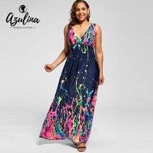 4719b9c14d90a AZULINA más el vestido de las mujeres del tamaño profundo cuello en V sin  mangas de la cintura de la impresión de los vestidos d.