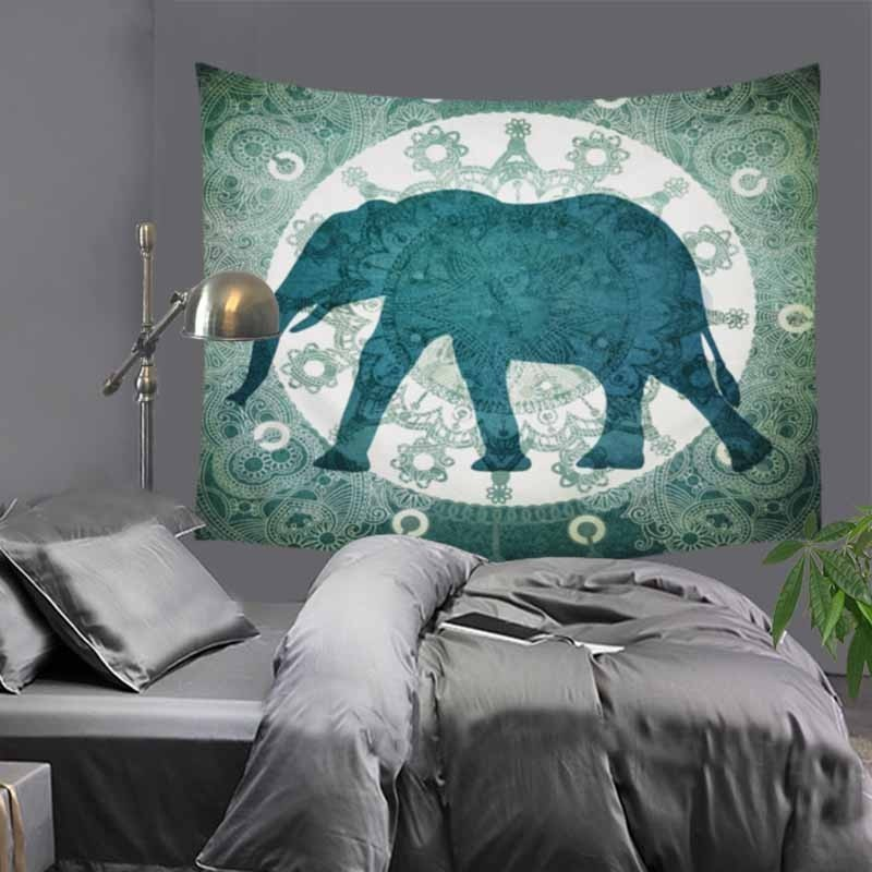 Elephant printed Indian tapestry hippie mandala wall hanging Bohemian bedspread dorm decor tapestry wall carpet 51x60 quot LZC7 in Tapestry from Home amp Garden
