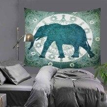 Elephant printed Indian tapestry hippie mandala wall hanging Bohemian bedspread dorm decor carpet 51x60 LZC7