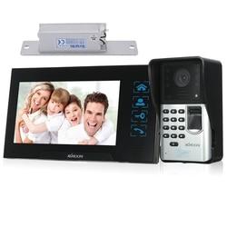 KKmoon 7 cal przewodowy wideodomofon z zamkiem drzwi wizualne wideo domofon linii papilarnych Night Vision zdalnego odblokowania wideo telefon drzwi