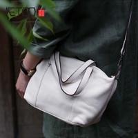 2018 White bag women soft cowhide diagonal bag shoulder bag 2018 summer new art small genuine leather female white handbag