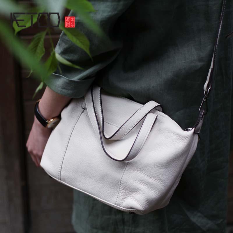 2018 sac blanc femmes souple peau de vache sac diagonale sac à bandoulière 2018 été nouveau art petit sac à main en cuir véritable femme blanc