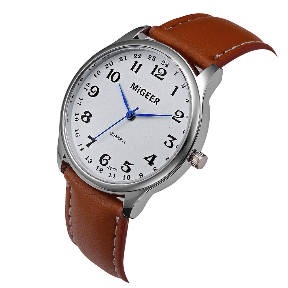 Fashion Casual Men's Watch Stainless Steel Leather Band Stainless Steel Case Strap Watch Women Clock reloj mujer Elegant