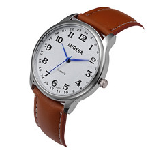 Fashion Casual Men's Watch Stainless Steel Leather Band Stai