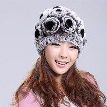 Russian Handmade Real Rabbit Fur Skullies Beanies Hats Winter Genuine Women Fur Caps Female Headgear VF1078