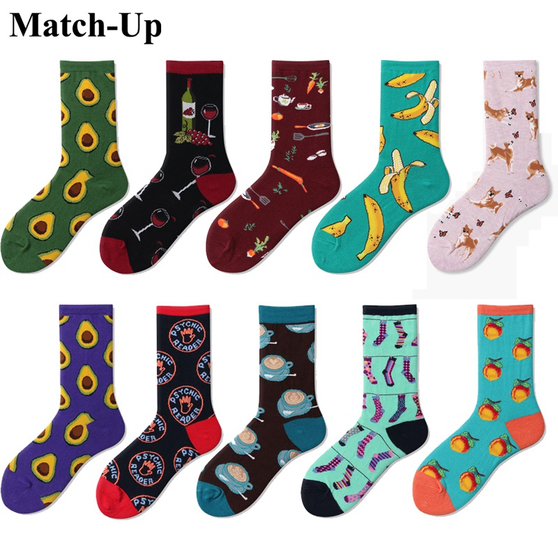 Match Up Women's Cotton funny colorful Combed Cotton Socks Banner red wine different cartoon styles 10 PAIRS/lot