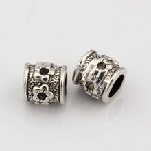 Hot ! 15pcs Antique Silver Alloy Tubular Carved designs Large Hole Spacer Bead Fit European Beads Bracelet  8.5mm nm527