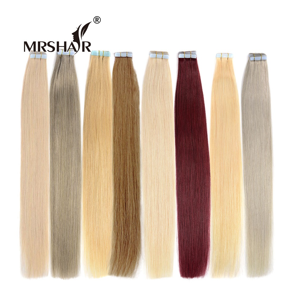 MRSHAIR 1 # Tape In Hair Extensions 20pcs Tape Weft Black Hair 16 - Menneskelig hår (for hvitt)