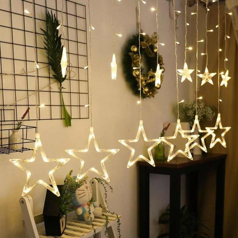 4M Christmas LED Lights AC 220V Romantic Fairy Star LED Curtain String Lighting For Holiday Wedding Garland Party Decoration