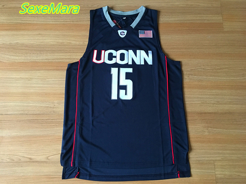 SexeMara 2017 New Uconn #15 Huskies Kemba Walker Home Black Basketball Jersey For Men Embroidery Logos College basketball Jersey