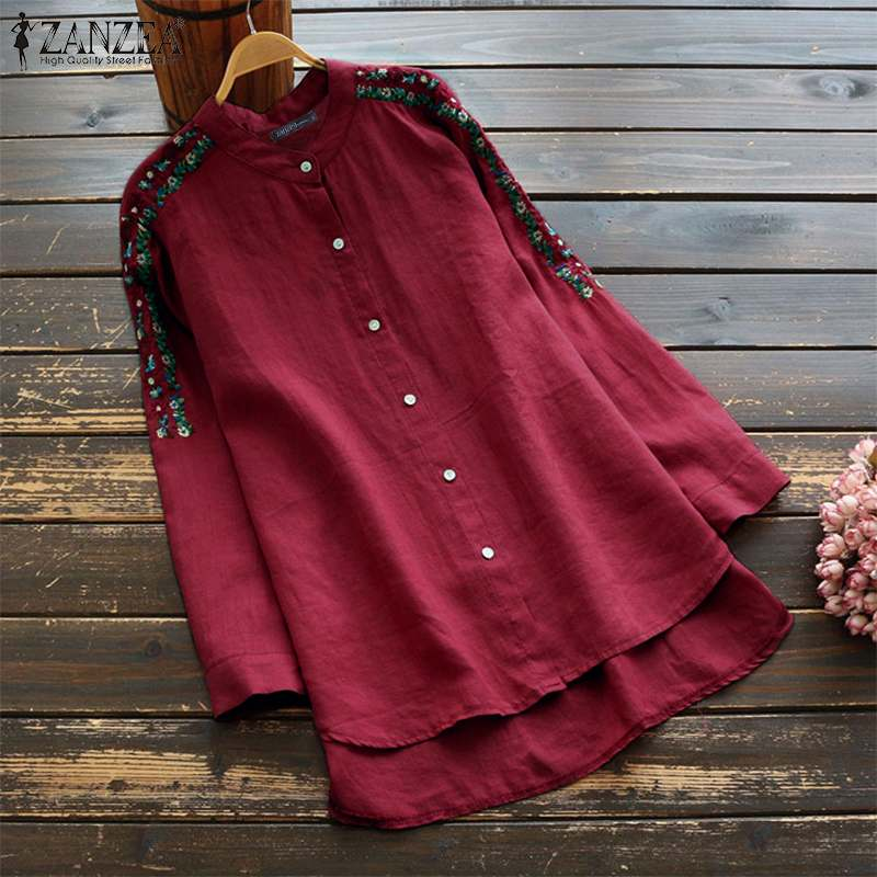 ZANZEA Vintage Embroidery Blouse Women Autumn Casual Buttons Down Long Tops Cotton Linen Female Loose Blusas Long Sleeve Shirt