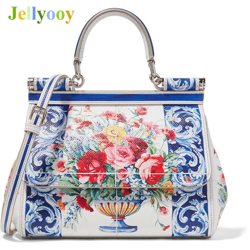 Luxury Brand Sicily Ethnic Flower Printed Genuine Leather Tote Bag Women Platinum Bags Handbag Purse Female Shoulder Bag/Handbag luxury italy brand sicily ethnic bag genuine leather women casual tote platinum bags star moon print lady shoulder messenger bag