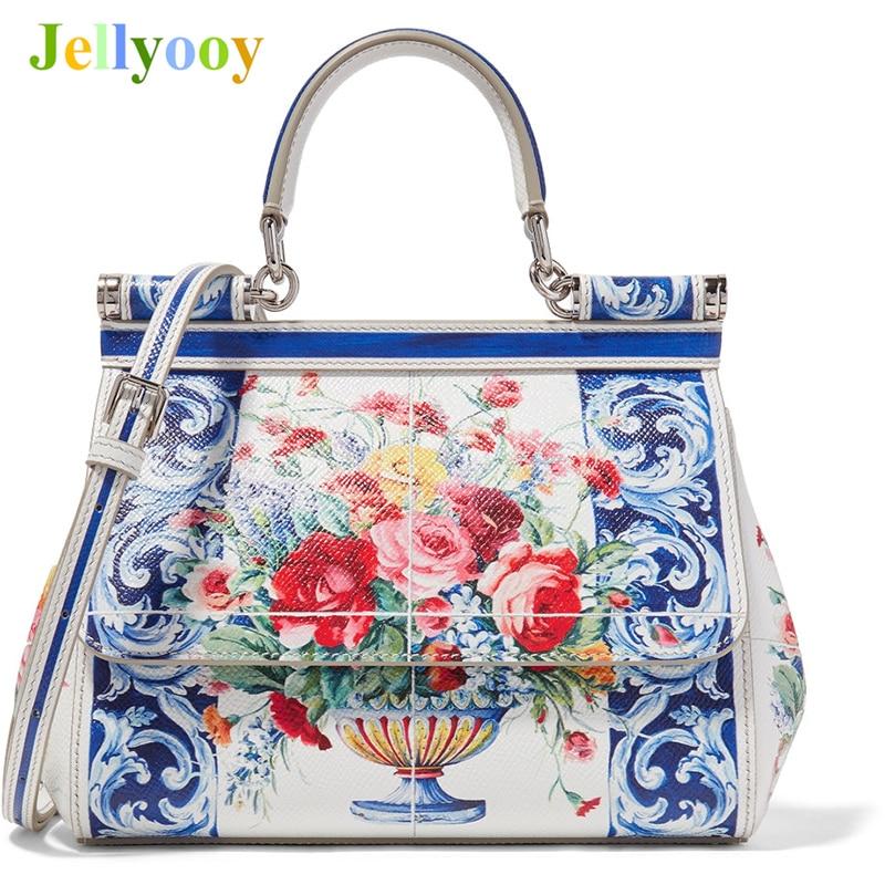 Luxury Brand Sicily Ethnic Flower Printed Genuine Leather Tote Bag Women Platinum Bags Handbag Purse Female Shoulder Bag/Handbag все цены