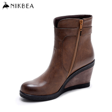 Nikbea High Heels Wedges Ankle Boots for Women Brand Winter Booties Fashion Brown Platform Wedge Boots Large Size Autumn Botas