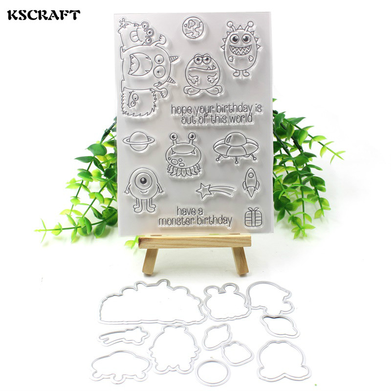 KSCRAFT Birthday Monsters Transparent Clear Silicone Stamp And Cutting Dies Set for DIY scrapbooking/photo album Decorative lovely animals and ballon design transparent clear silicone stamp for diy scrapbooking photo album clear stamp cl 278