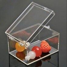 6.4x4.7x3.7cmPlastic Şeffaf Dikdörtgen kutu numune kutusu Küçük mini saklama kutusu kutusu