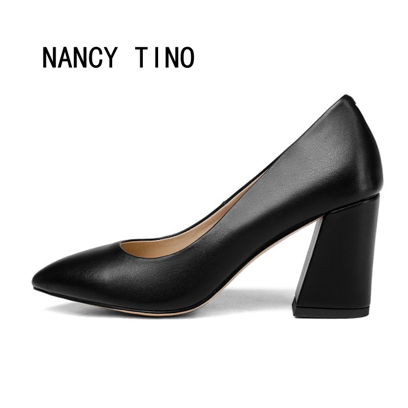 NANCY TINO New Women Pumps Shoes Square Heel Pointed Toe Super High-heeled Women's Shoes Fashion Party  Made By Hand 35-43 nancy кукла нэнси в голубой юбке плетение косичек nancy
