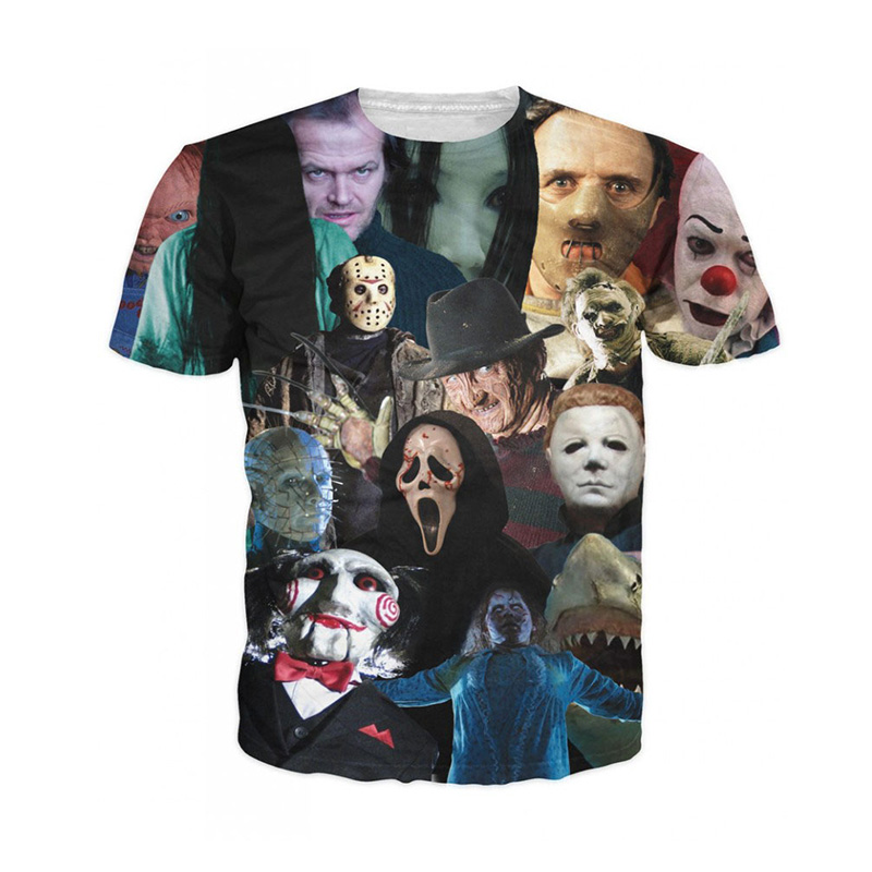 Cloudstyle Unisex Women Men 3D Harajuku Summer Short Sleeve Cinema Killers   T  -  Shirt   horror movie killers Print Tee   t     Shirts
