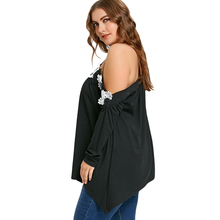 Plus Size 5XL off the shoulder Collar Shirt Women Fashion Sexy Black Floral Applique Big Size Female Top
