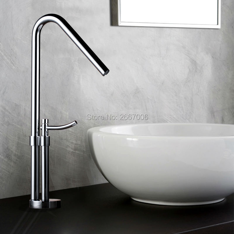 Free shipping Contemporary design Copper bathroom faucet High polished sink Mixer faucet tall waterfall basin side faucet ZR631 free shipping polished chrome finish new wall mounted waterfall bathroom bathtub handheld shower tap mixer faucet yt 5333