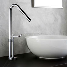 Envío gratis diseño Contemporáneo baño de Cobre grifo de Alta pulido del fregadero grifo tall cascada cuenca grifo lado del ZR631