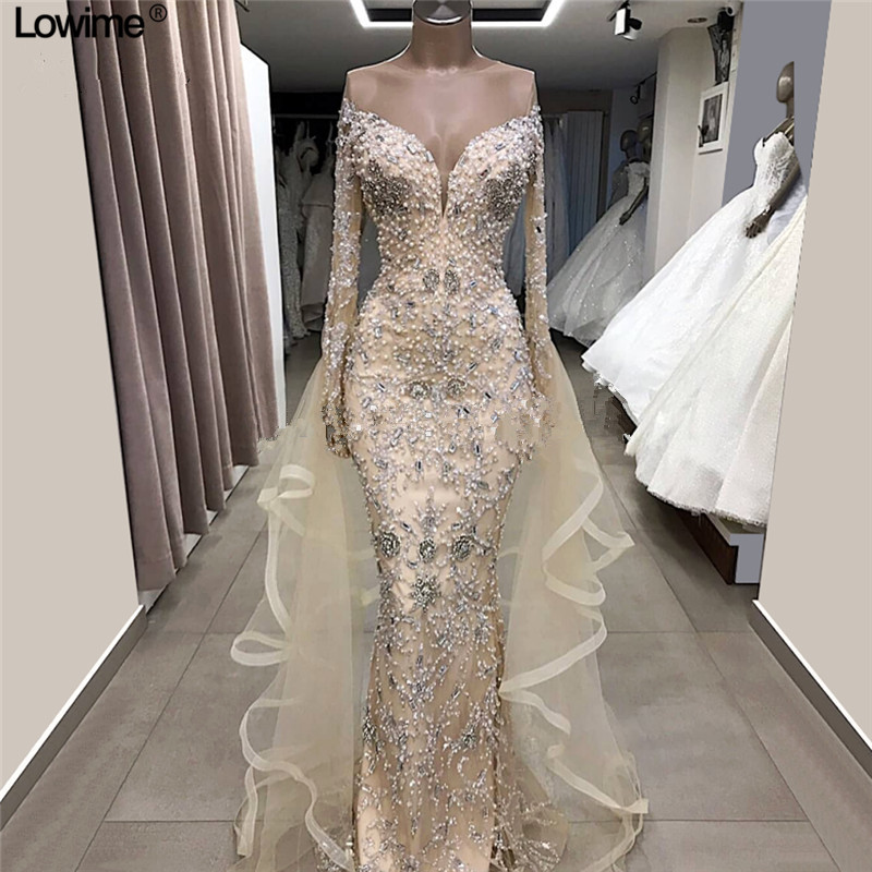 Light Champagne Pearls Long   Evening     Dresses   2019 New Arabic Couture Dubai Formal Prom   Dress   Abendkleider Sexy Party Gowns