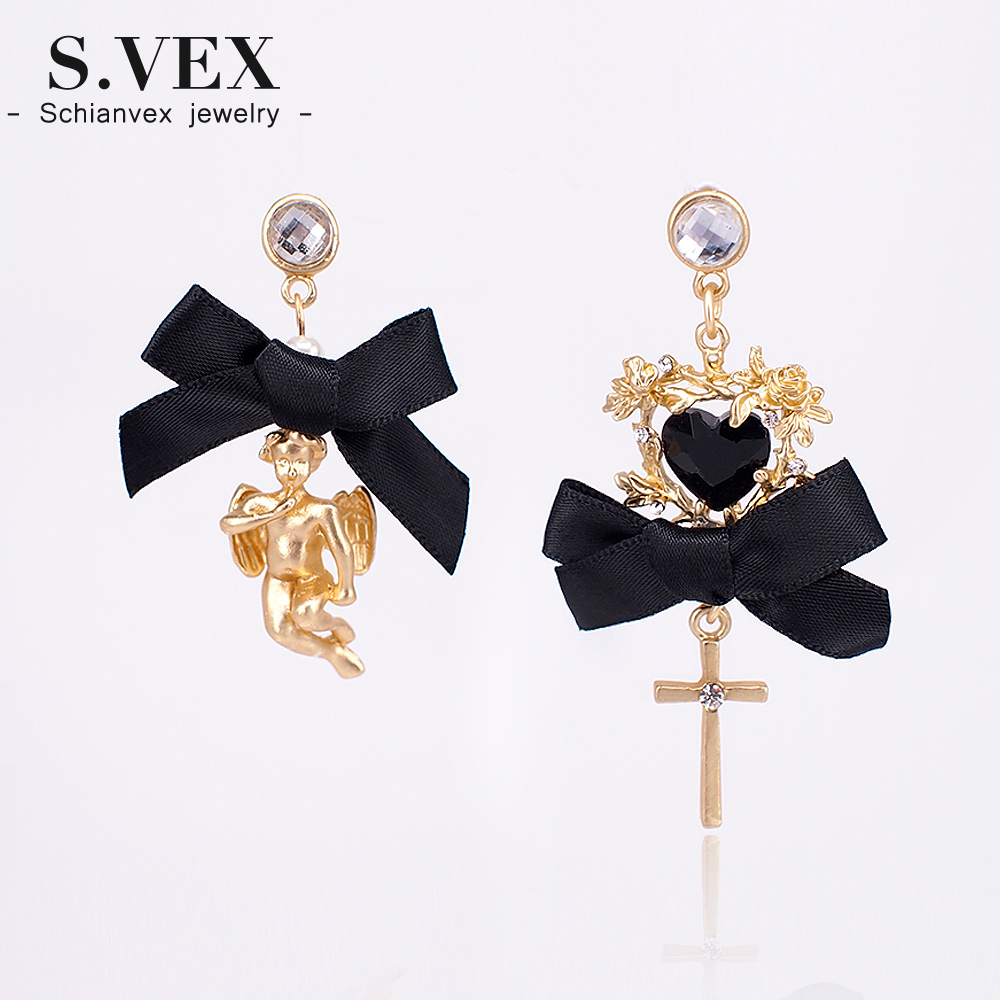 Schianvex Cross Heart Long Vintage Earring For Women Gift
