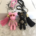 Fashion Trinket Key ring Leather Rope Keychain DIY Craft Cartoon Bear Keychain Gloomy Tassel Keychain  Bag Charm Pendant