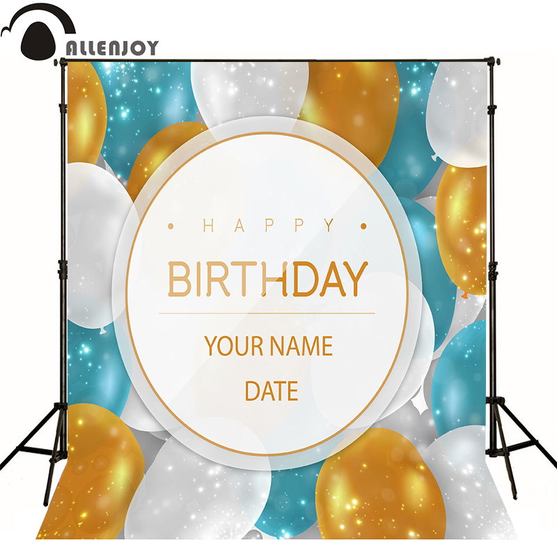 Allenjoy Photographic background balloon gold blue light baby happy birthday photo background backdrops for sale fotografia