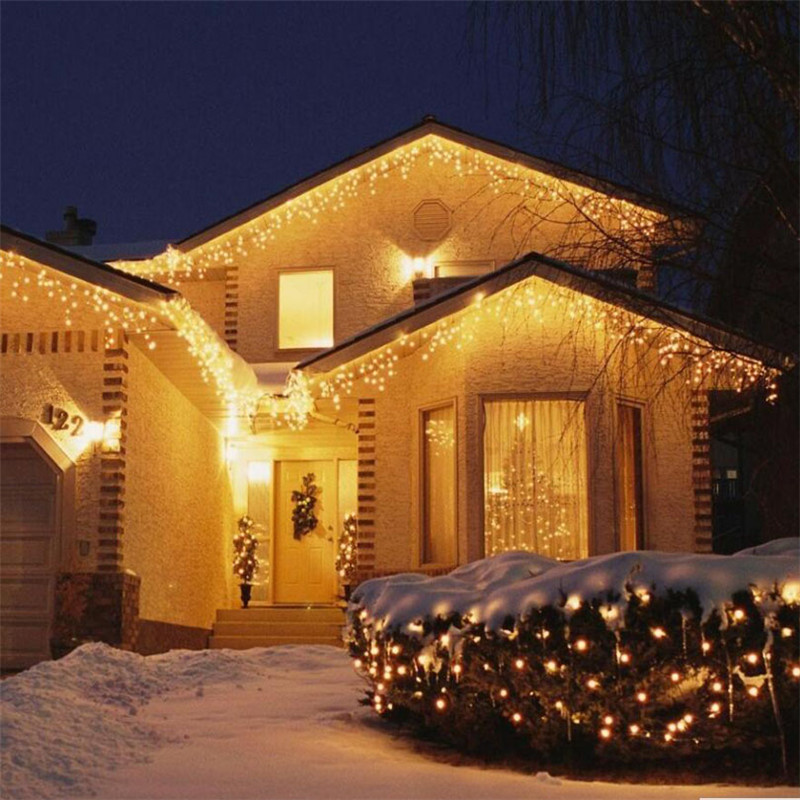 Christmas-Garland-LED-Curtain-Icicle-String-Light-220V-4-5m-100Leds-Indoor-Drop-LED-Party-Garden