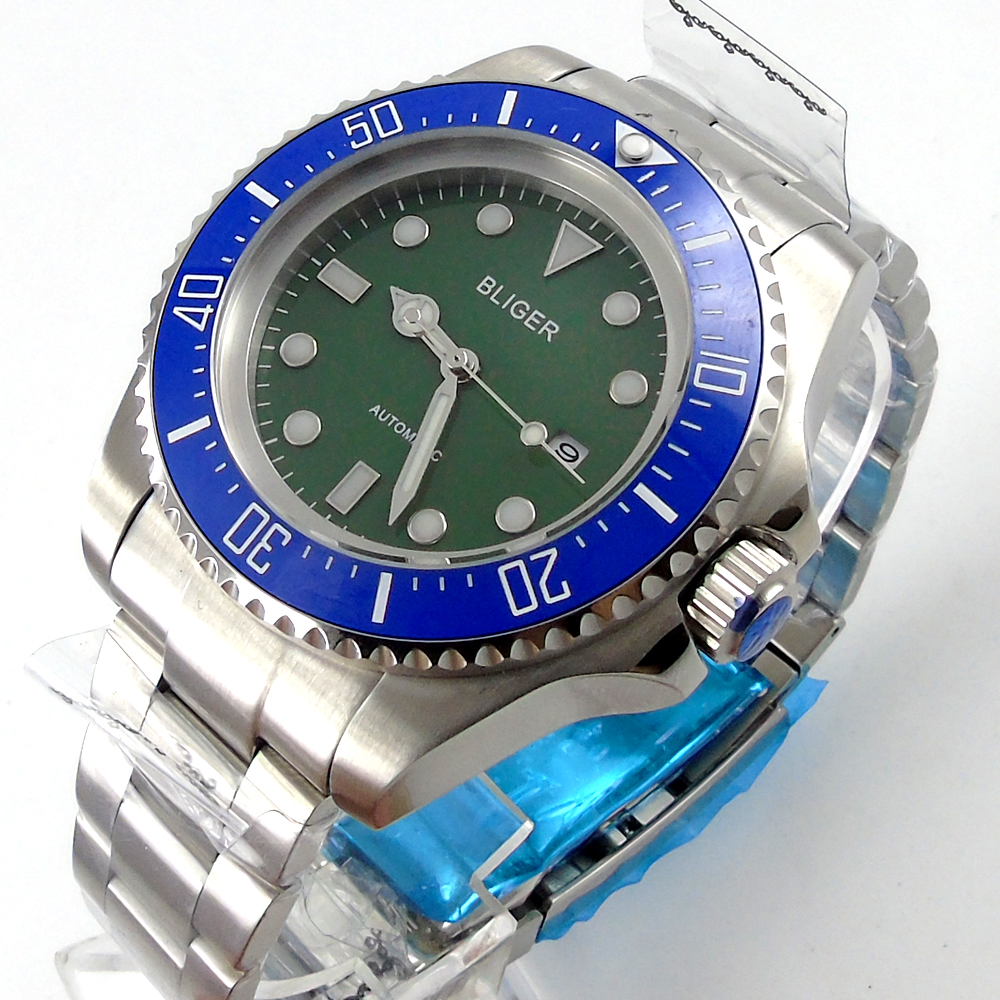 Bliger 44mm green Sterile dial blue Ceramic Bezel automatic mens watch