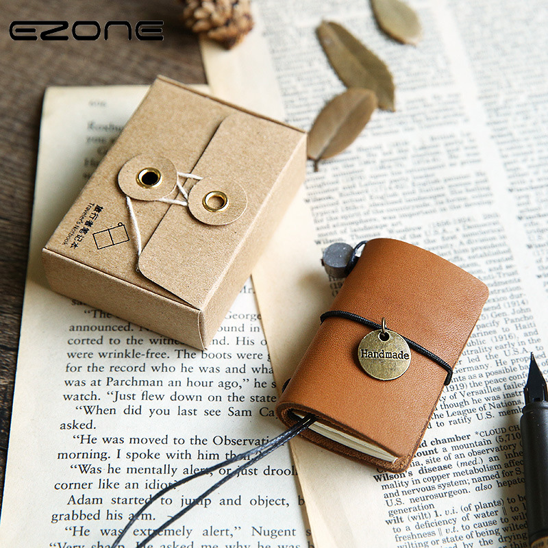 EZONE Vintage Notebook Mini Cowhide Cover Portable Notepad Retro Bandage Note Book Traveler Journey Daily Diary School Supply