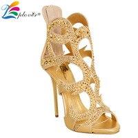 סנדלי הקיץ סקסי נשים עקבים דקים sandalias אישה נעלי עקבים גבוהים יוקרה המפלגה זהב קריסטל sandalia feminina zapatos mujer