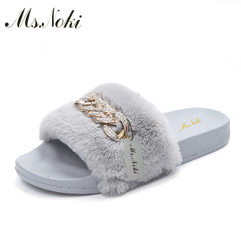 Ms Noki Women Fur Slippers Fashion Flip Flops Sandals Plush Warm Home Slippers Metal Summer Comfortable Woman Flats Beach Shoes bees slippers women g designer flats sandals bees logo fashion women beach summer slippers flip flops