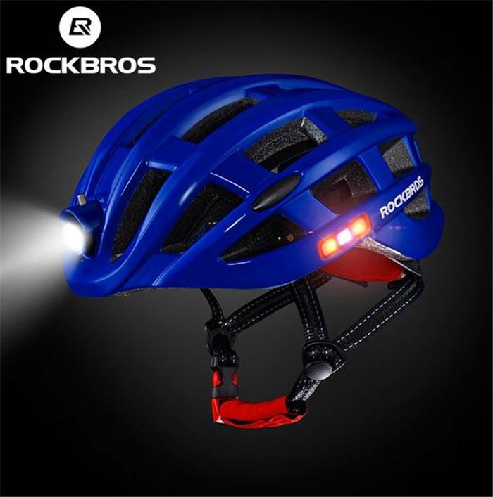 все цены на RockBros Road Bike Night Cycling Ultralight Helmet Intergrally-molded Mountain Road Bicycle MTB Helmet Safe Men Women 49-59cm онлайн