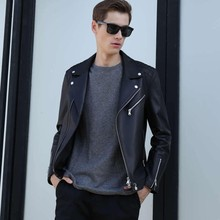 Italian Fashion Mens 100 Nature Leather Motorcyle Jacket Slim Fit Biker Outwear Leather Coats Plus Size