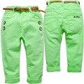 3662 pantalones del otoño del resorte del cabrito suave ocasional pantalones niños niñas pantalones del bebé verde fluorescente de color amarillo