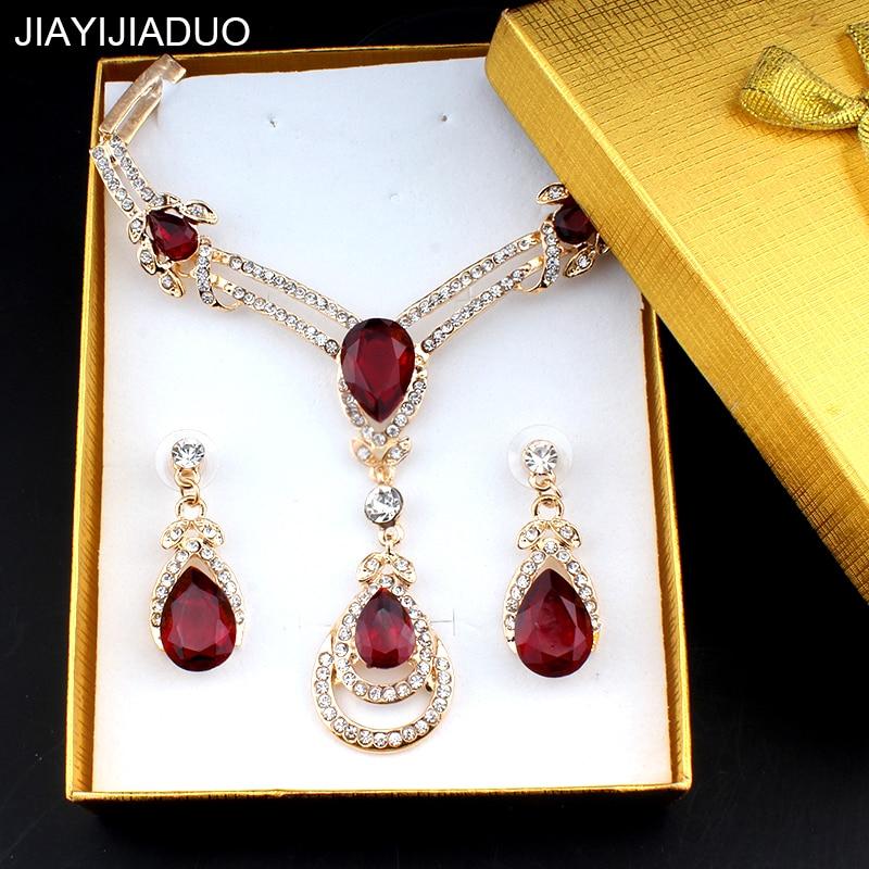 Brautschmuck Sets WunderschöNen Jiayijia Elegante Hochzeit Frauen Schmuck Set Gold Farbe Kristall Halskette Ohrringe Set Von Exquisite Geschenk Verpackung Geschenk 7 Farben