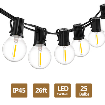 G40 1W LED String Lights 18Ft/26Ft LED Globe Bulbs 2700K Waterproof Outdoor for Patio Garden Backyard Party Wedding Decorations vnl g40 string lights with 25 g40 clear globe bulbs listed for indoor outdoor vintage backyard wedding decoration string lights