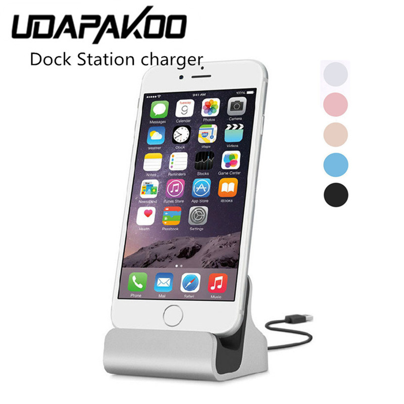 Galleria fotografica 2017 New Dock Charger Sync Data Docking Station Charging Desktop Cradle Stand & usb cable for iphone 6 6s 7 plus 5 5s smartphone
