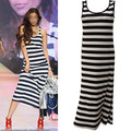 Womens Long Maxi Striped Dress Ladies Modal Sleeveless Long Vest Maxi Dress Casual New