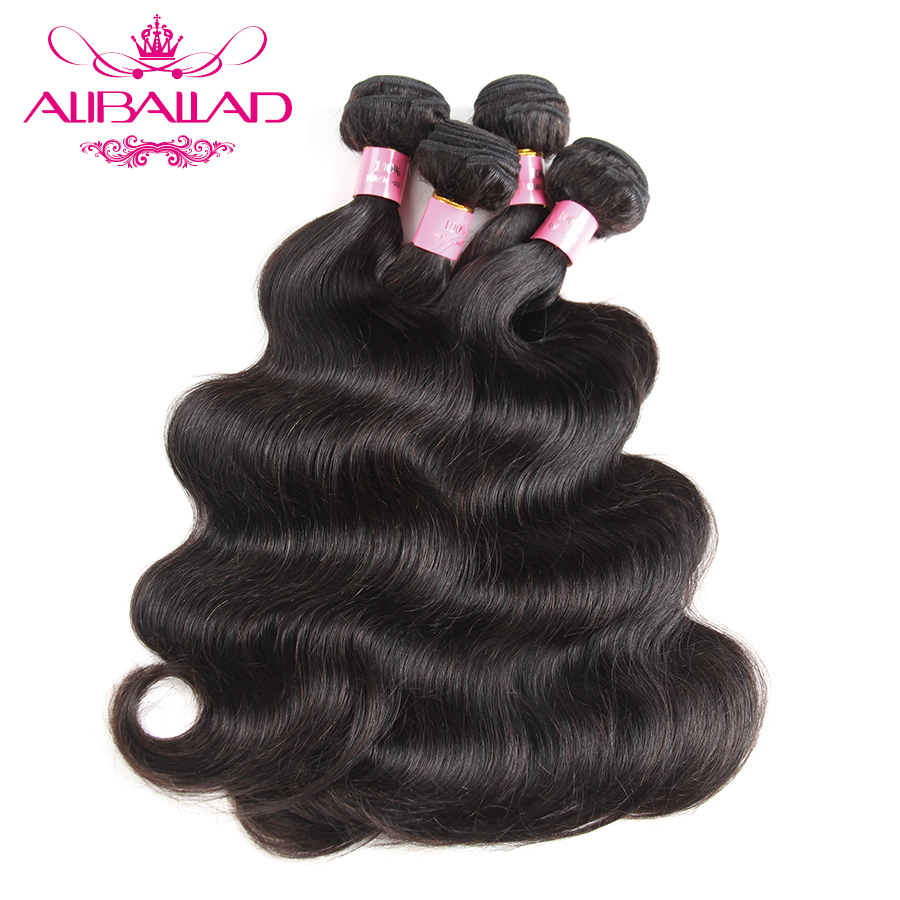 Aliballad Malaysian Body Wave Bundles Natural Color Weave Non Remy 100 Human Hair Bundles Double Weft