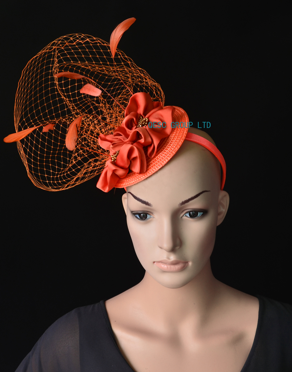 1595a9c0b6113 NEW Wholesale Rusty orange veiling fascinator kentucky derby hat with  feathers handmade flower for wedding race.FREE SHIPPING-in Fedoras from  Apparel ...