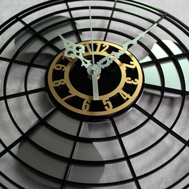European Antique Creative Design  Electric Fan Wall Clock Fashion Round Wall Clock Silent Non-tickingWall Clock