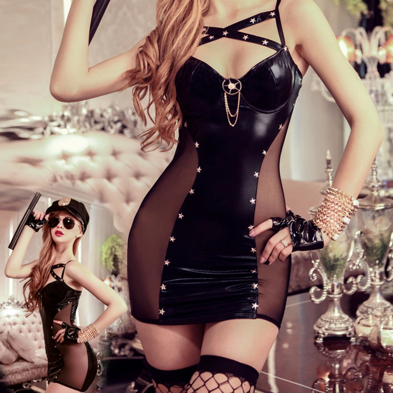 black police costume naughty lingerie sexy costumes fancy cop erotic faux leather dress hat gloves stockings thong 9909