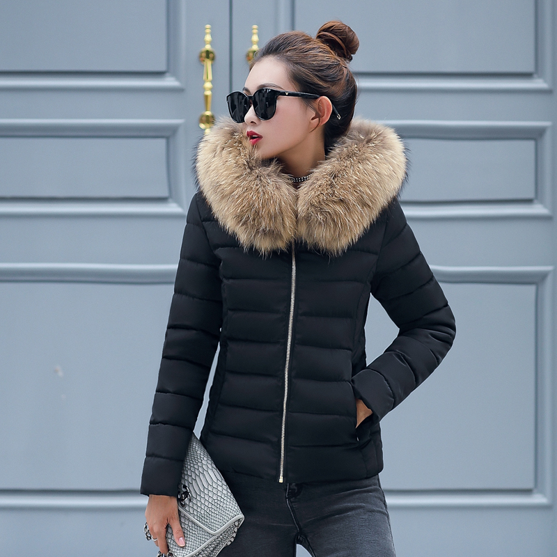 Plus Size 3XL 4XL Female Coat Autumn With Fur Collar Hooded Cotton Padded Winter Jacket Women Short Outwear Basic Jacket  1