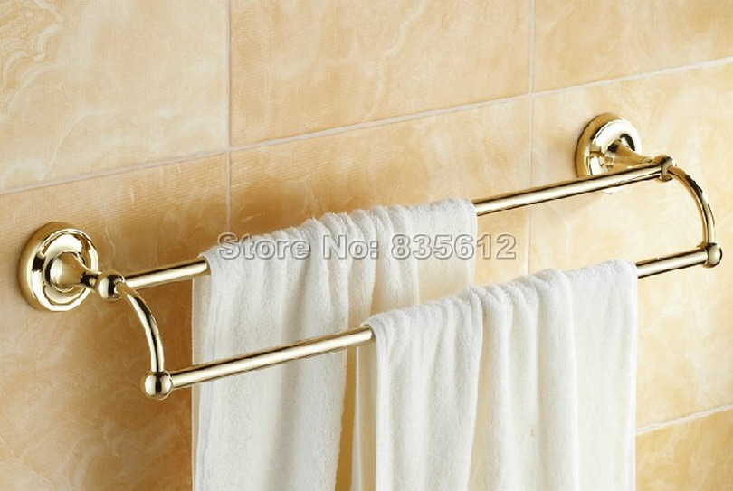 luxury gold color brass wall mounted bathroom double towel rail bar wba231china mainland