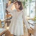 Moda verão rendas roupas de maternidade desgaste de maternidade luva cheia tops em torno do pescoço roupas de grávida para a gravidez mulheres