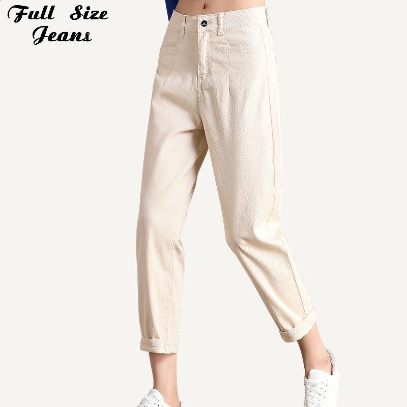 Plus Size High Waist Beige Loose   Jeans   Harem Pants 3Xl 5Xl 7Xl Spring Korean Casual Ankle Length Denim Capris Femme Cool Mujer